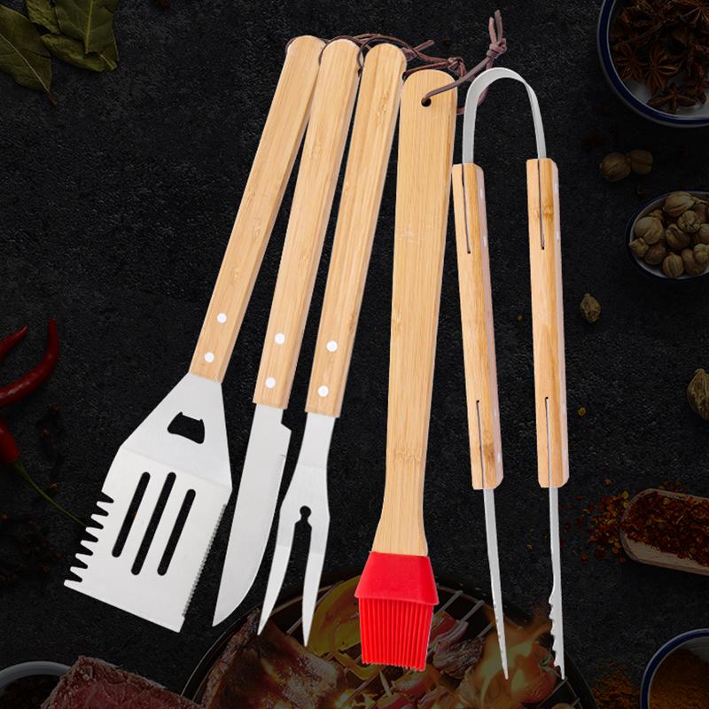 不锈钢榉木烤具5件套